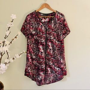 Lane Bryant Leather Trim Patterned Top Size 14/16